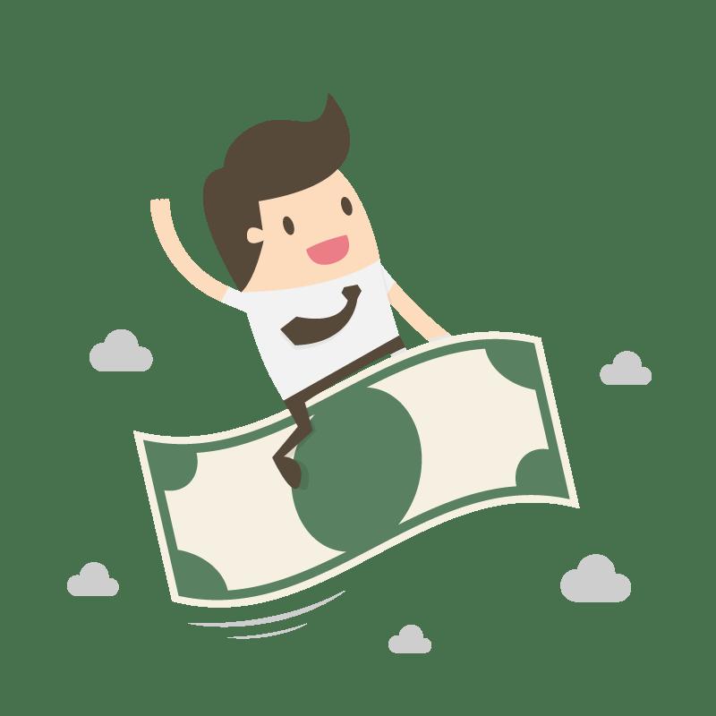 Webdesign fliegender Geldschein